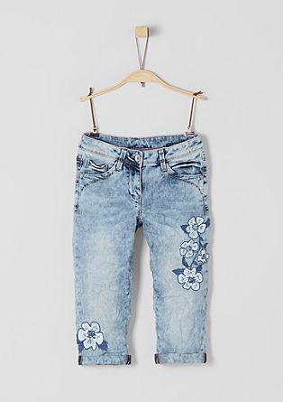 Skinny Suri: kapri jeans hlače z vezenino