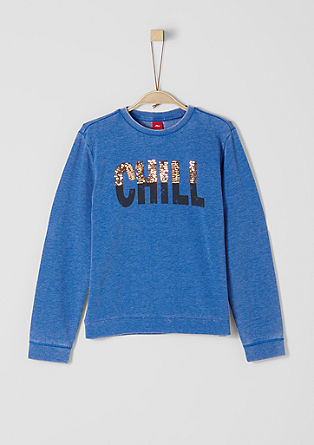 Sweatshirt mit Pailletten-Wording