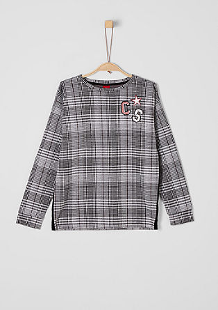 Glencheck-Sweatshirt mit Patches