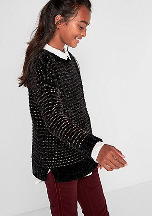 Kuschel-Pullover mit Glitzer-Stripes