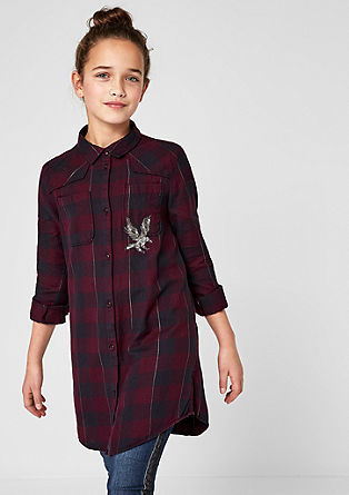 Longbluse mit Pailletten-Patch