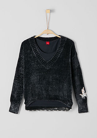 2-in-1: Embroidered jumper with vest top from s.Oliver
