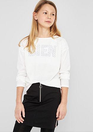 Tričko s dlouhým rukávem, nápisem a krajkou