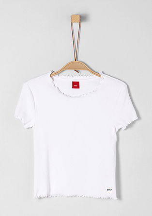 Ribbed T-shirt with a wavy hem from s.Oliver