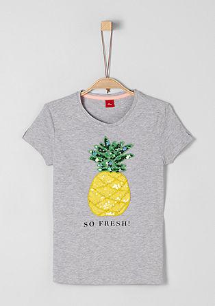 Slub Yarn-Shirt mit Pailletten-Artwork