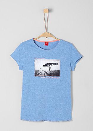 Majica z umetnino in okrasnim robom