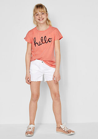 Embroidered shorts with a scalloped hem from s.Oliver