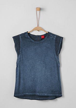 Jersey shirt met garment-washed effect