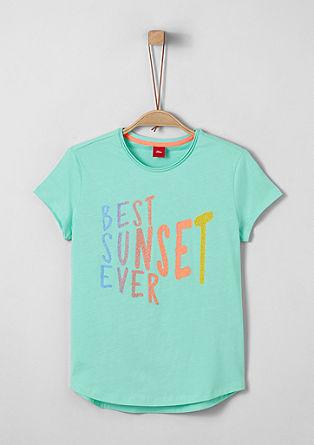 T-Shirt mit Glitzer-Schriftzug