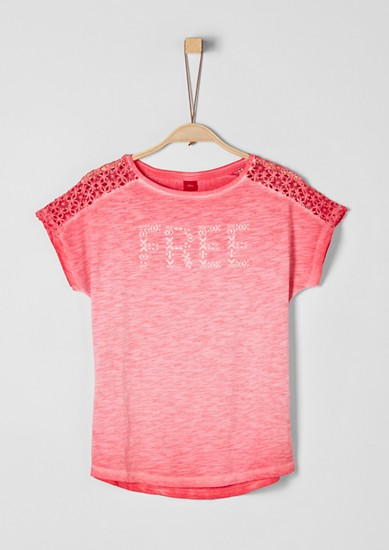 Slub Yarn-Shirt mit Spitze