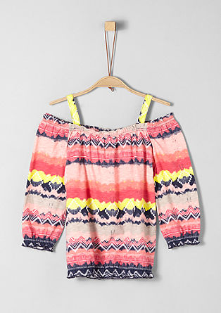 Off-shoulder shirt met motiefprint
