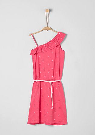 Asymmetrisches Kleid mit Bindegürtel