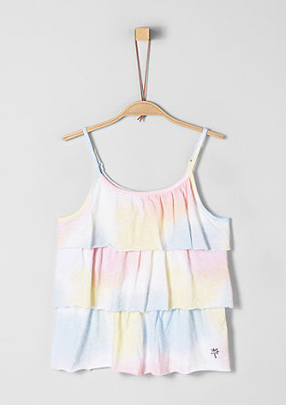 Shirt met volant, in een rainbow design