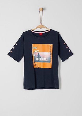 T-Shirt mit Print und Nieten