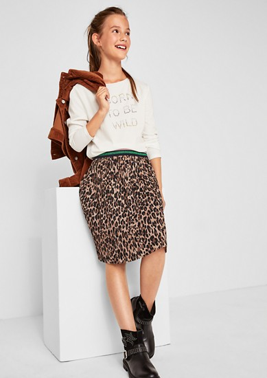 Crinkle skirt with a sparkly waistband from s.Oliver