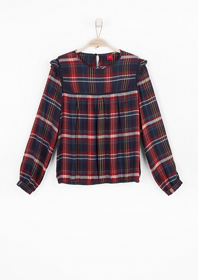 Flannel blouse with velvet details from s.Oliver