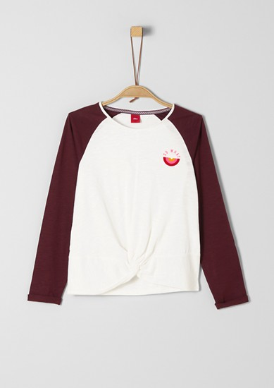Top made of slub jersey with raglan sleeves from s.Oliver
