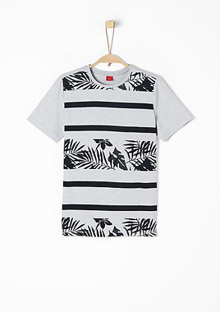 Melange T-shirt with a print pattern from s.Oliver