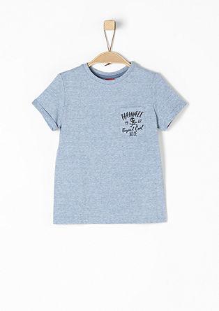 Gemêleerd T-shirt met een zakje met print