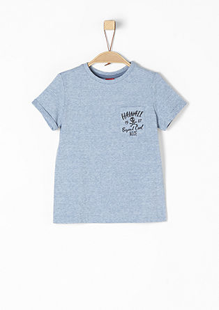 Melírované tričko spotiskem na kapsě