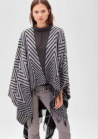 Blanket poncho with a zigzag pattern from s.Oliver