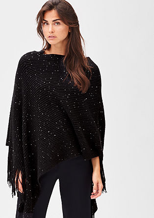 Knit poncho with sequins from s.Oliver
