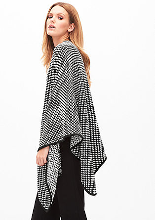 Black & white knit poncho from s.Oliver
