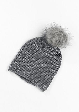 Mütze mit Fake Fur-Bommel