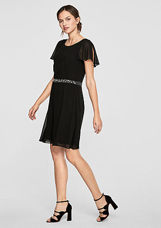 Korte chiffon jurk met sierkraaltjes
