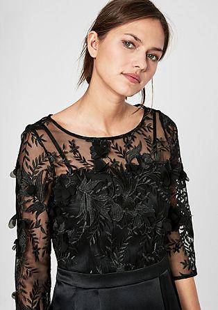 Satijnen jurk met gebloemde kant