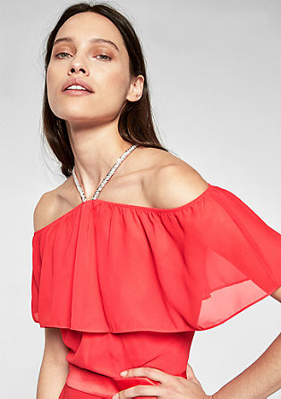 Langes Off Shoulder-Kleid aus Crêpe