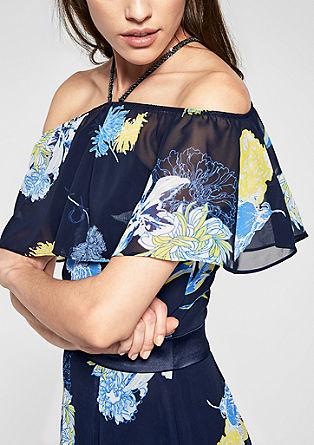 Dolga obleka z odprtimi rameni iz krepa