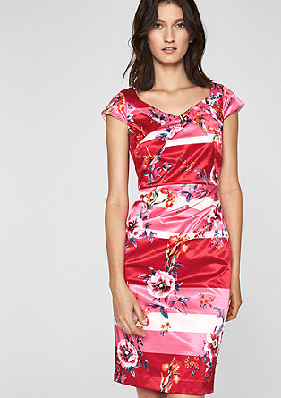 Satin dress with a floral print from s.Oliver