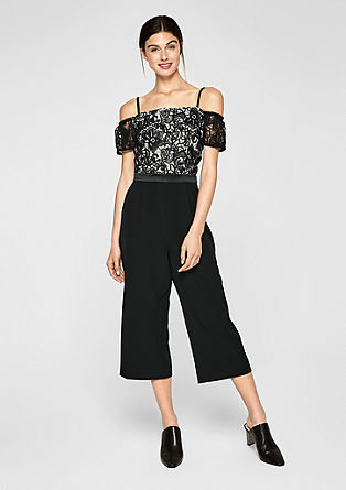 Culotte-Overall mit Spitze