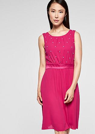 Elegante crêpe jurk met sierparels
