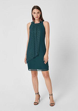Off-shoulder chiffon jurk met mesh