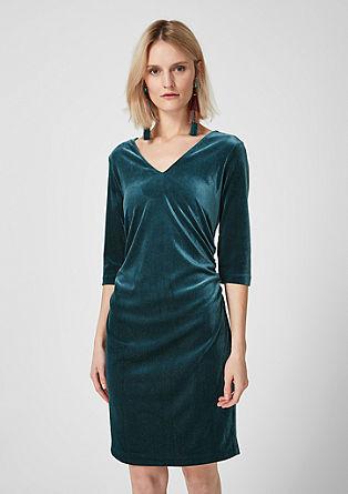 V-Neck-Kleid aus Glitzersamt