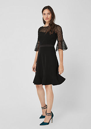 Elegant dress with a lace yoke from s.Oliver