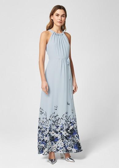 Gebloemde maxi-jurk met een mooie kraag