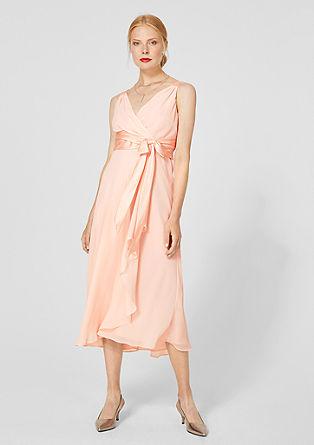 Chiffon jurk met satijnen strik