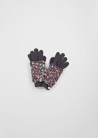 Handschuhe mit melierter Blende
