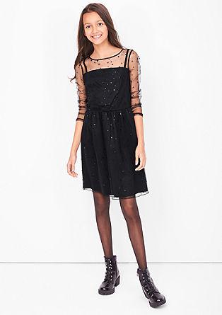 Mesh-Kleid mit Sternenprint
