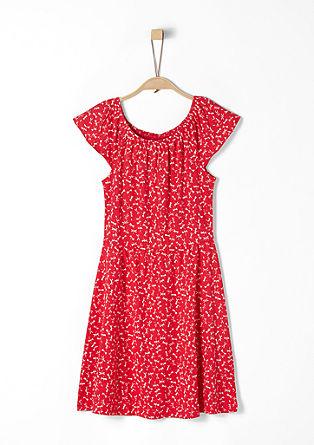 Jerseykleid mit Elastik-Ausschnitt