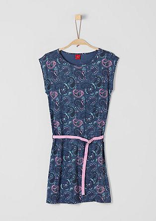 Musterprint-Kleid mit Gürtel
