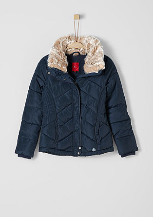 Warm quilted jacket with faux fur from s.Oliver
