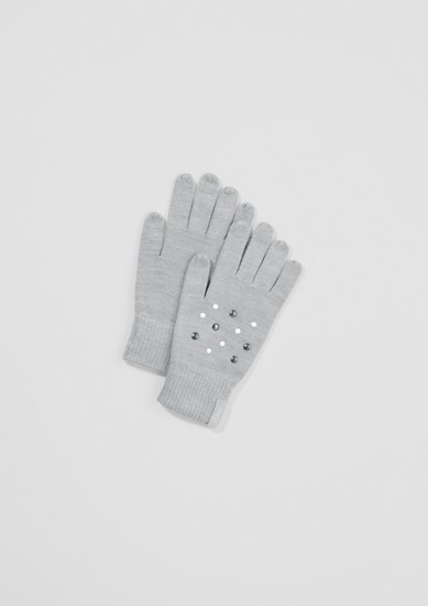 Strick-Handschuhe mit Schmuckperlen