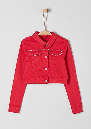 Coloured Denim-Jacke mit Steinchen