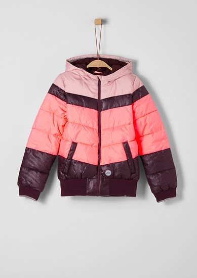 Winterjas met colour block