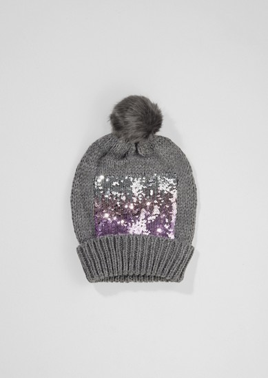 Pompom hat with glittering sequins from s.Oliver