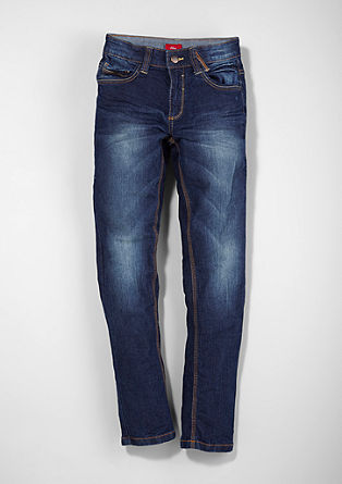 Skinny Seattle: Blue Jeans mit Used-Waschung